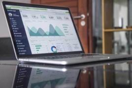 Analysing turnover on laptop screen image