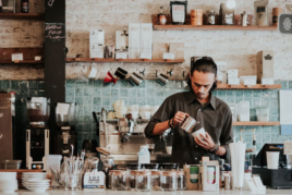 Barista making coffee image