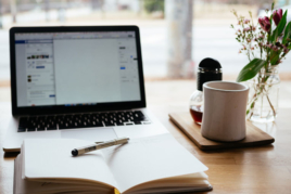 Business plan on laptop screen image
