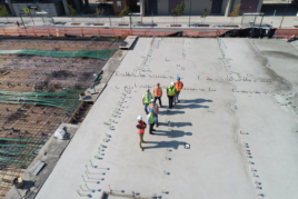 Construction workers on building site image