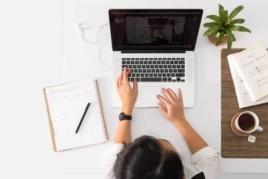 Freelancer typing on laptop image