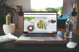 Open laptop on desk image