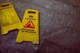 broken yellow caution sign image