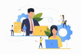 Business manager and virtual assistant on laptops image