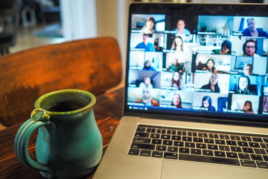 Remote working team on video conference call image