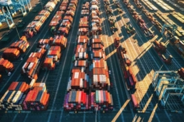 Shipping containers in port image
