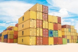 Stacked shipping containers image